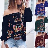 Sale Women Ladies Shirts Ladies Off Shoulder Long Sleeve TShirt Tops Blouses LY