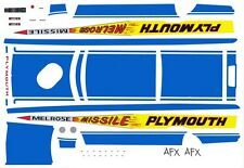 Melrose Missle Plymouth 1965 Tom Grove 1/24th - 1/25th Scale Decals
