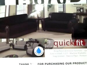 Duck Rivers Reversible Waterproof Quilted Sofa Cover Microfiber Silver/Black