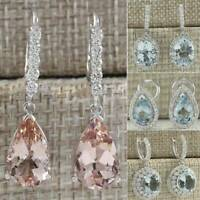 925 Silver Aquamarine Morganite Women Fashion Dangle Anniversary Drop Earrings