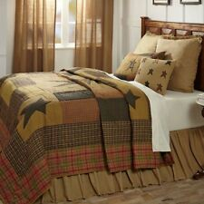 Stratton King Quilt Hand Stitched Country Star Patchwork Khaki Tan Red + Green