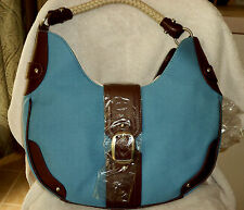 BNWT Coldwater Creek Hobo Bag; Blue Canvas/Brown Leather