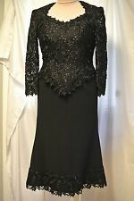 Tina Di Martina Custom Boutique Heavy Lace/Cut Crystals Black Dress-V Hem-6/8