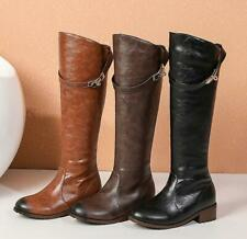 Women Synthetic Leather Knee High Knight Boots Autumn Winter New Retro 34-48 New