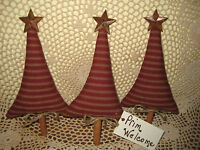 3 Rustic Red fabric Trees Ornaments Bowl Fillers Prim Country Christmas Decor