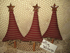 New listing 3 Rustic Red fabric Trees Ornaments Bowl Fillers Prim Country Christmas Decor