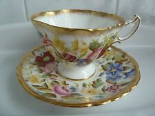 HAMMERSLEY TEA CUP AND SAUCER SET FLORAL PAINTED WIDE MOUTH EC Vintage
