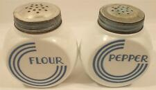 Vintage Round White Milk Glass Pepper Flour Shakers Blue Lettering Metal Lids