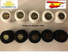 10 Ovillos de Algodón 100% 5 Blancos +5 Negros 85 Metros de Hilo por Cada Ovillo