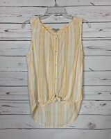 Lucky Brand Women's S Small White Yellow Striped Cute Spring Summer Top Blouse