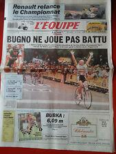 journal  l'équipe 09/07/91 CYCLISME TOUR DE FRANCE 1991 BUGNO DE WILDE