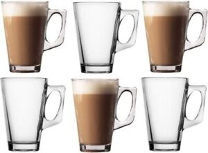 Pack of 6 Latte Cups Tea Coffee Café Cappuccino Hot Drinking Cups