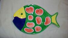 Ceramic Multicolored Fish Plate by WCL, Blue, Green, Yellow and Red