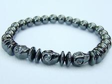 Men's hematite elasticated Bracelet hematite SKULL 8mm  beads 8inch