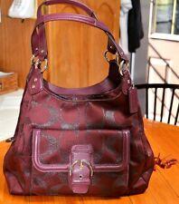 NWOT Coach Campbell X Large Metallic Burgundy Signature Handbag