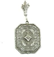 10K White Gold Diamond Filigree Pendant Art Deco Floral Antique