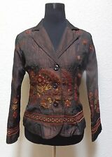 ELCC WOMENS JACKET/BLAZERS SZ S SMALL BROWN FLORAL PRINT BUTTON UP LS