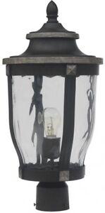 Outdoor Post Mount Light McCarthy 1-Light Bronze Clear Glass Illumination New