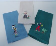FINGER TOWELS, EMBROIDERED Linen, South American, SET OF THREE, VTG., Excellent