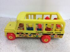 1965 Fisher Price Little People School Bus Set Pull Toy #192 w/ 7 Wooden Figures