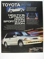 1987 Toyota Corolla FX16 GT-S Liftback white car photo vintage print Ad
