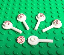 Lego X5 New Lollipop / White And Red Candy Bar Mini Figures Foods Lot Play