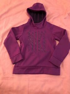 Nike Dri-Fit Elite Long Sleeve Pull Over Size Small Kids Youth Purple Hoodie(A1)
