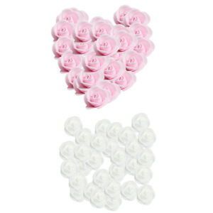 200 Wedding Flowers Foam Rose Heads Flower DIY Craft Kissing Ball Pink+White