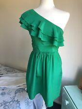EAST OF INDIA Sz 8 Green Silk Dress One Shoulder Ruffle A-Line GUC