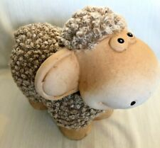 Fluffy Brown Sheep Figurine Ceramic & Fur Adorable Home Decor Great Gift! WORLD