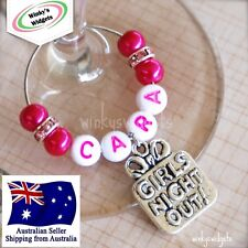 Girls Night Out Wine Glass Charm Personalised (Hen Party Women Ladies Champagne)