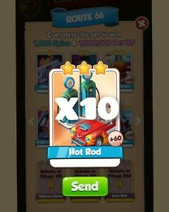 X10 Hot Rod Coin Master Route 66  Set Card :- Coin Master