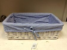Wicker Storage Organizer Toy Mail Basket BLUE Gingham Check Liner 17x11x5.5