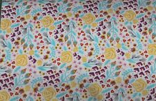 100 % Cotton fabric ~ White, teal purple, yellow, gray design ~ BTY