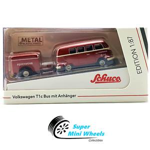Schuco - 1:87 HO Scale - VW T1c Bus w/ Trailer Feuerwehr (Red) - Diecast Model