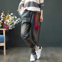 Vintage Womens Pants Embroidery Denim Loose Casual Elastic Waist Jeans Trousers