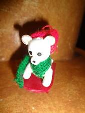 Vintage Christmas Tree Ornament Wooden White Teddy Bear on Red Wood Sled