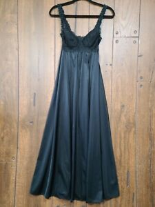 Vintage Olga Long Black Nylon + Lace Nightgown Womens Small Bust 34 Padded