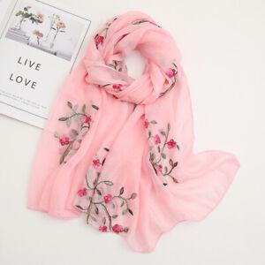 Women Flower Embroidery Soft Long Neck Scarf Wrap Shawl Stole Scarves Chiffon
