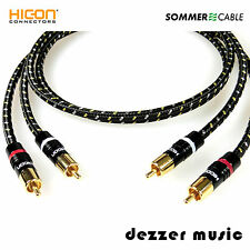 2x 0,5m Cinch-Kabel Classique sw Hicon Gold / Sommer Cable / NF-Phonokabel Hifi