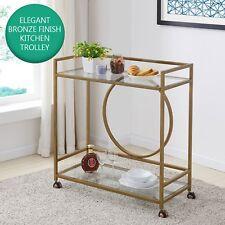 Modern Drinks Trolley Gold Metal Frame Wheeled Tea Serving Tray Glass Furniture