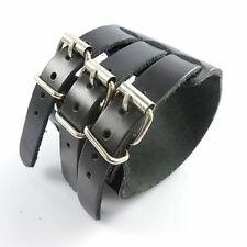 Black Real Leather Multi 3 Layer Buckle Cuff Wristband - Punk Goth Rocker Biker