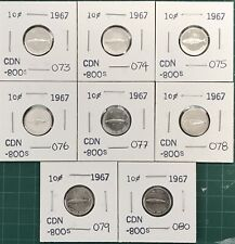 8 - 1967 Canada Silver 10 Cent Fish Dimes  Centennial  Coin