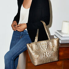❤BRAHMIN MEDIUM ASHER TOTE GOLD BRONZE METALLIC TASSEL CROC LEATHER EVENING BAG❤