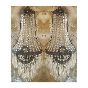 2 Antique Patina Replica Brass French Empire Crystal Chains Wall Sconces Lights