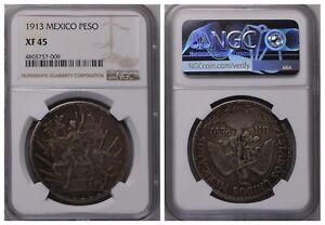 NGC Mexico 1913 Un Peso Caballito Horse Silver Coin Nice Toned XF45