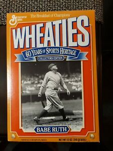 1992 Babe Ruth New York Yankees Baseball 12 Oz Wheaties Cereal Box Opened