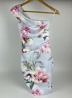 Lipsy London,White Floral,Pale Blue,Dress,Size UK 4,Long Zip Close