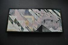 11x24 Large Mixed Media Art Collage Painting Original Modern Abstract Geometric