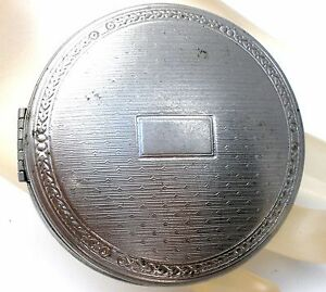 Deauville Richard Hudnut Art Deco Duo Compact Lady's Vanity Mirror Silver